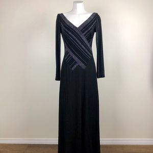 Vintage Black & Silver Metallic Gown